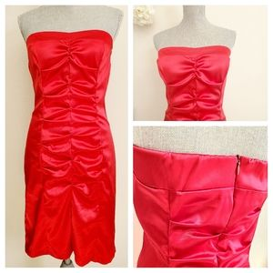 B.Darlin Red Satin Strapless Bodycon Dress (11/12)